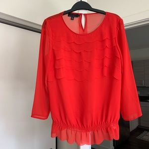 Ted Baker Red Scalloped Blouse